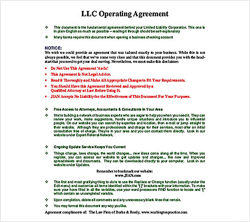 11 Operating Agreement Template for a Secure Company Management - business operating agreement