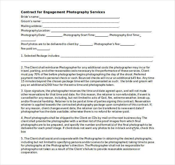 20+ Photography Contract Template - contract templates word