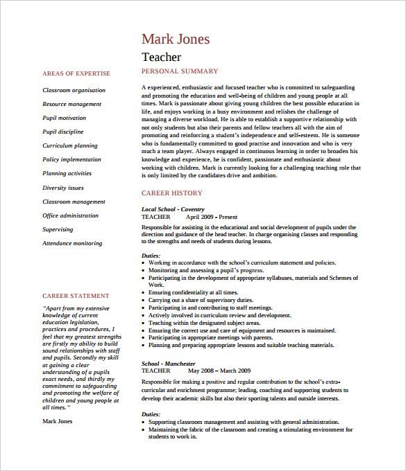 cv primary teacher template doc