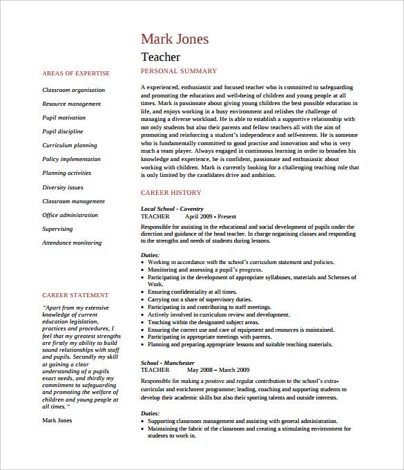 cv primary teacher template doc