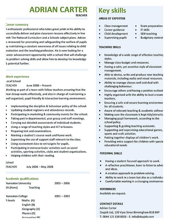 Teaching Cv Template Teaching Resume With Owl Example Best Teaching - good teacher resume