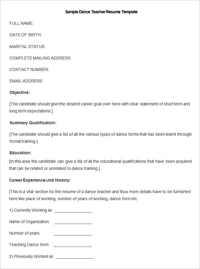 resume template for kindergarten teacher