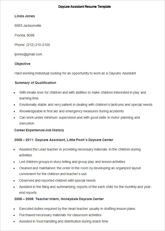 daycare assistant resume sample - Goalgoodwinmetals