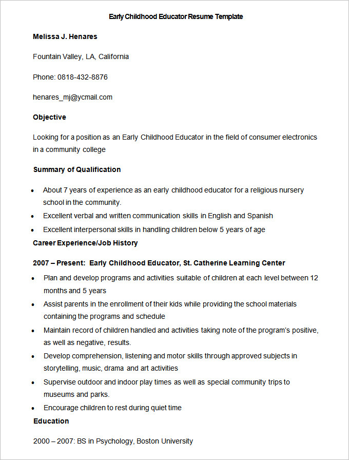 sample of a child development professor resume