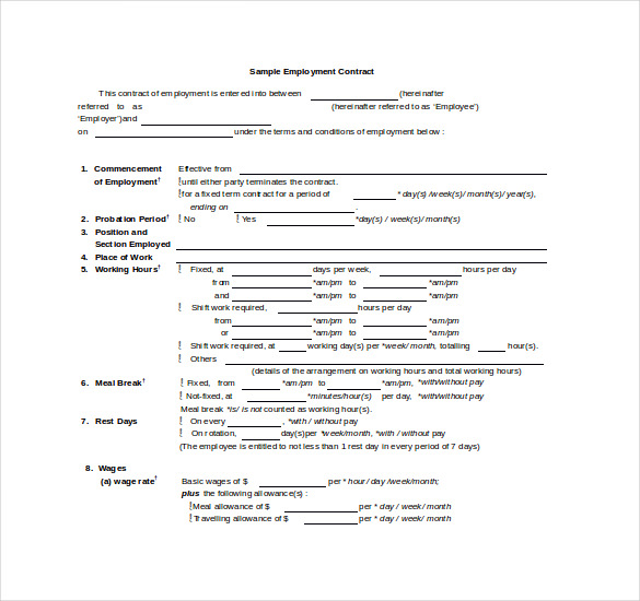 employment contract sample word document - Ozilalmanoof - Work Contract Template