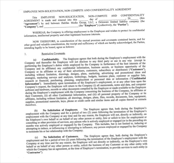 Non Compete Agreement Template u2013 What You Need for a Clear Content - business non compete agreement