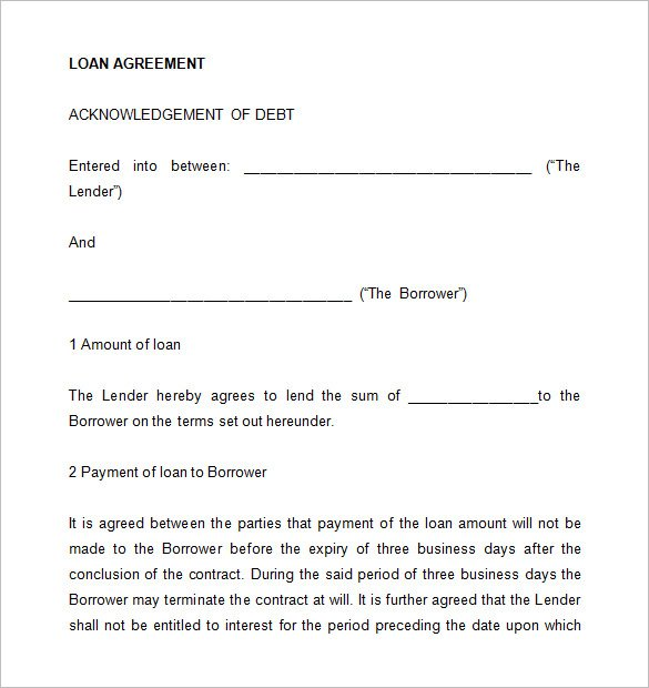 26+ Great Loan Agreement Template - money loan contract template