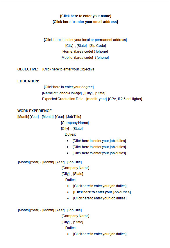 Resume Layout On Word