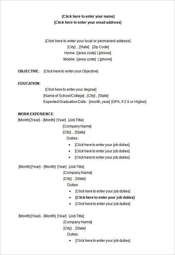 access resume template microsoft word