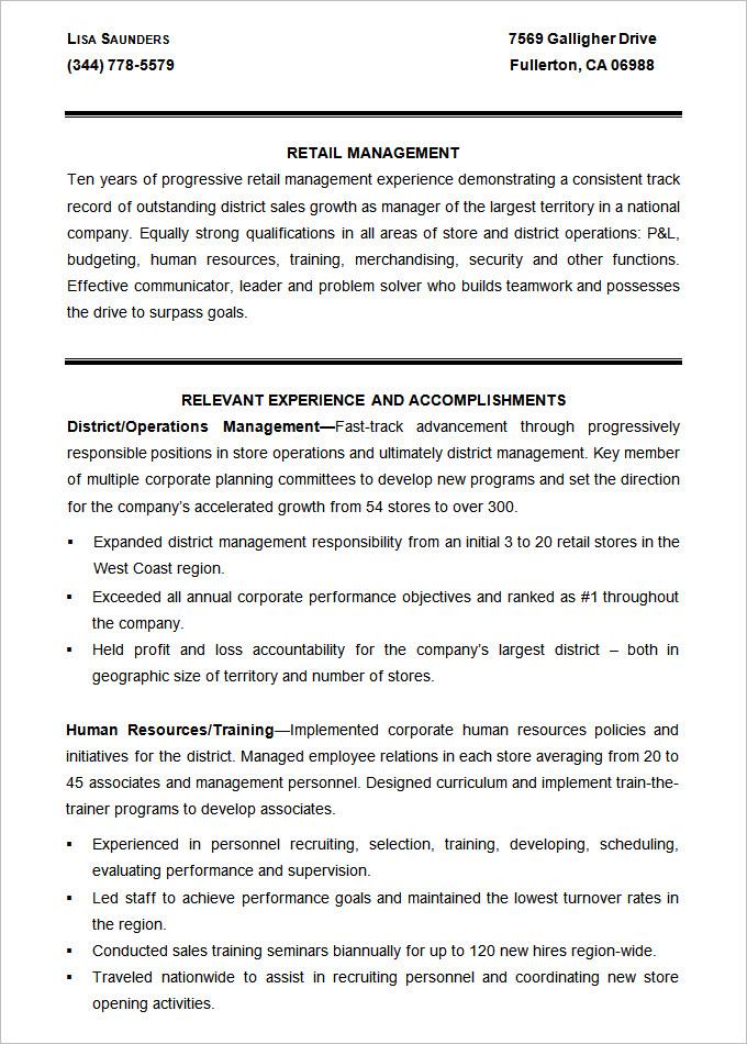 Luxury Retail Resume Templates Retail Management Resume Template - resume template retail manager