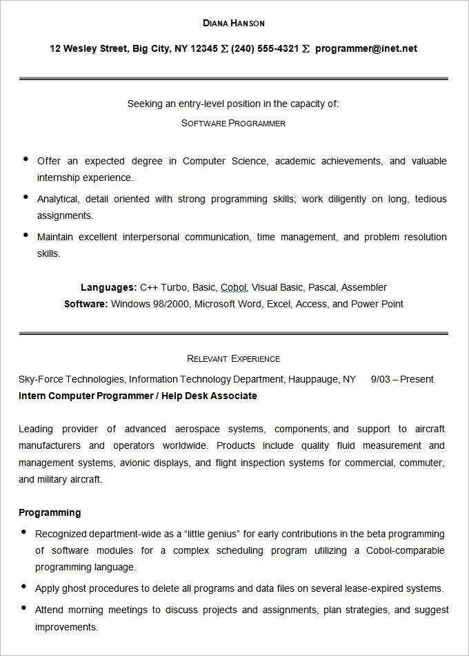 computer programmer resume template - Minimfagency - programming skills resume