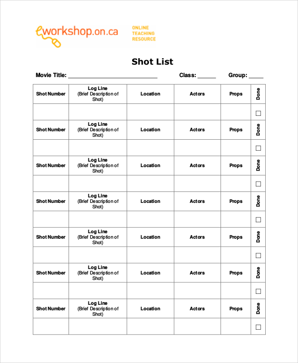 Essential Elements to Be Involved in Shot List Template Making