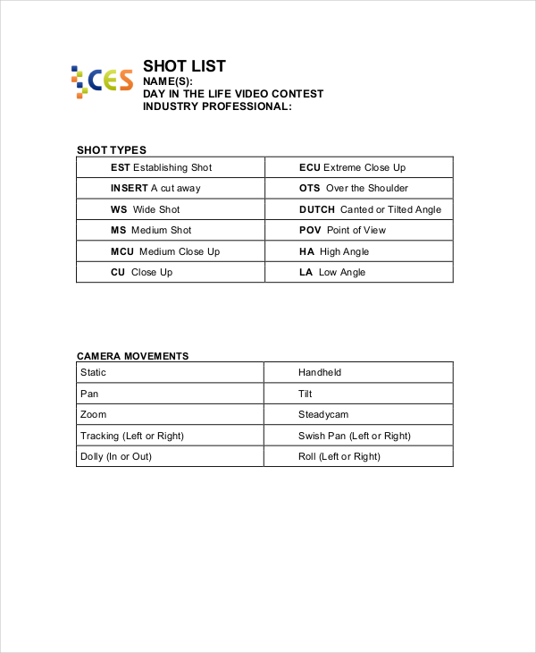 Essential Elements to Be Involved in Shot List Template Making - Shot List Template