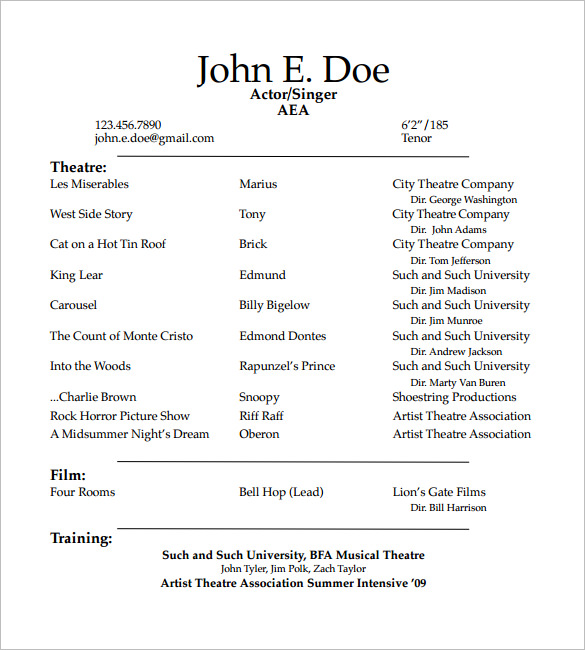 How to Create a Good Acting Resume Template