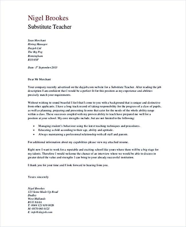 sample cover letter for substitute teaching job no experience