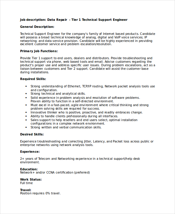 it technical support engineer sample resume