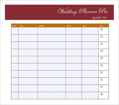 Wedding Guest List Template to Set a Wedding Ceremony on a Budget - guest list sample