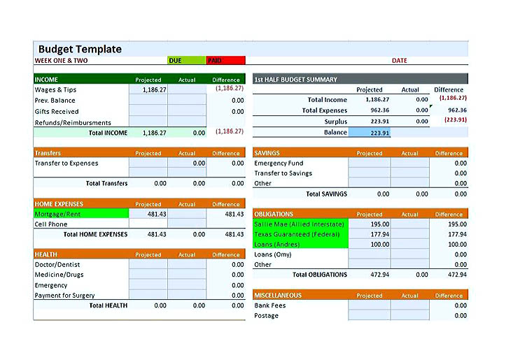 Free Bi Weekly Budget Template Introduction Letter For Job Resume
