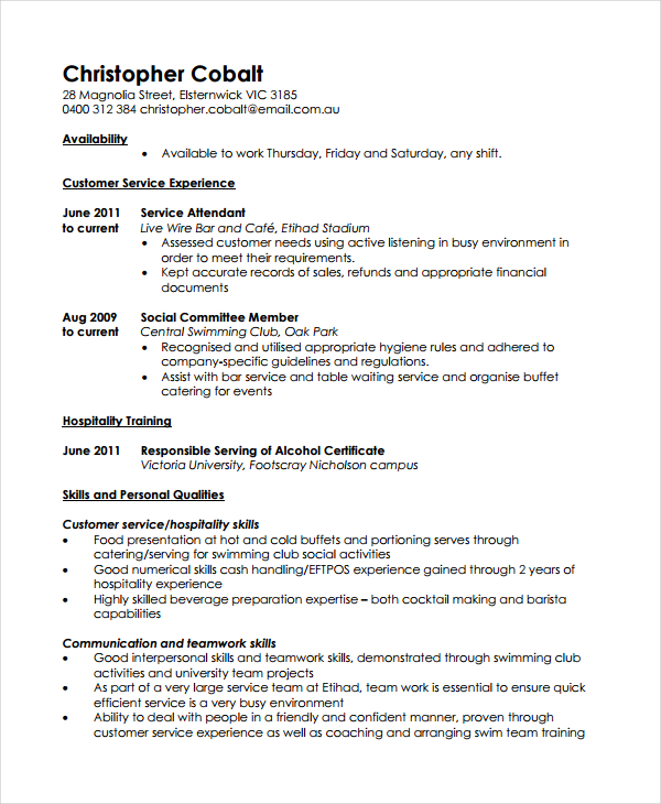 casual job resume template