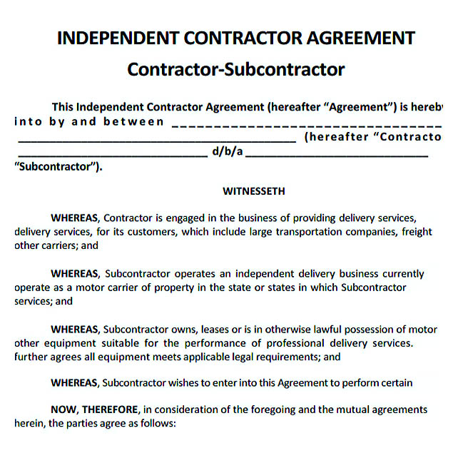 Sample Subcontractor Agreement Subcontractor Agreement Template - subcontractor agreements