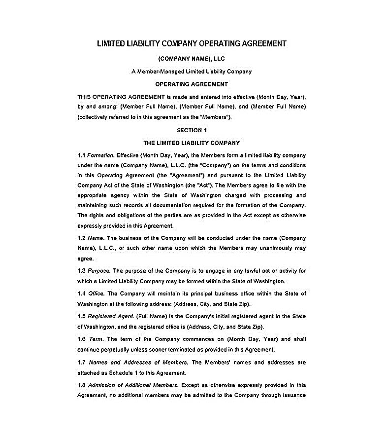 Sample Operating Agreement For Ny Llc Best Resumes Curiculum - business operating agreement