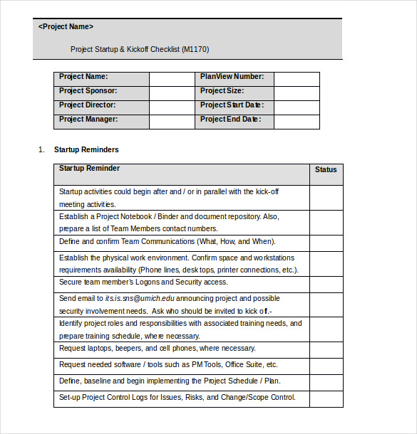 Audit Checklist Template Project Checklist Template Word Format - audit checklist template
