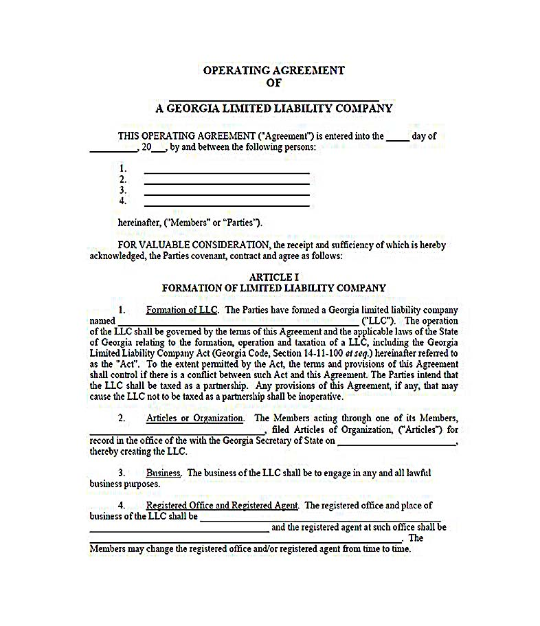 business operating agreement sample - business operating agreement