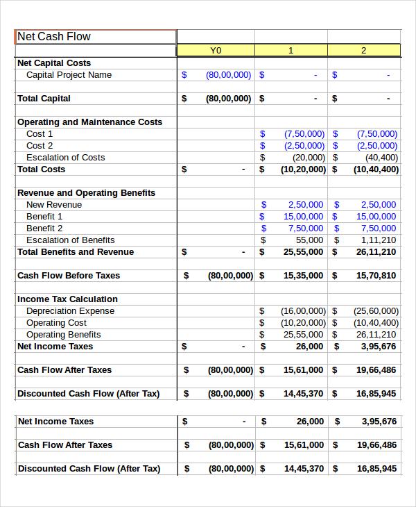 excel cash flow projection template