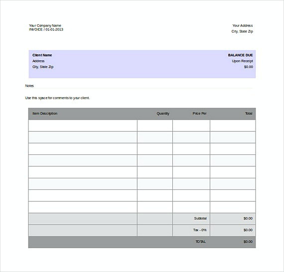 Templates for Invoices - company invoices