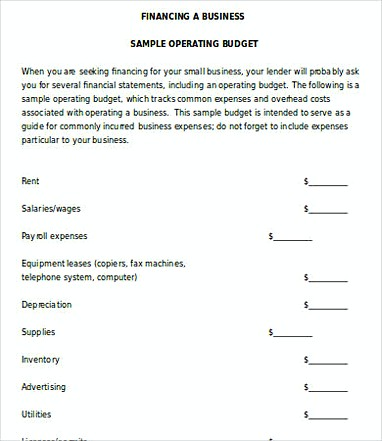 14 Small Business Budget Template - operating budget template