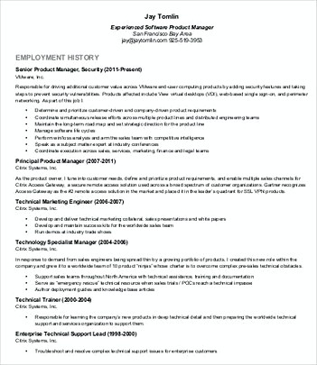 Product Manager Resume Template - product manager resumes