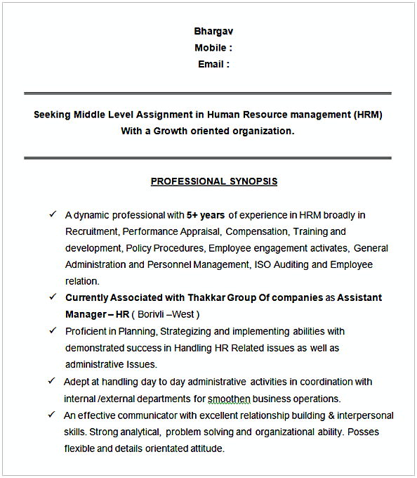 HR Manager Resume Sample - hr sample resume