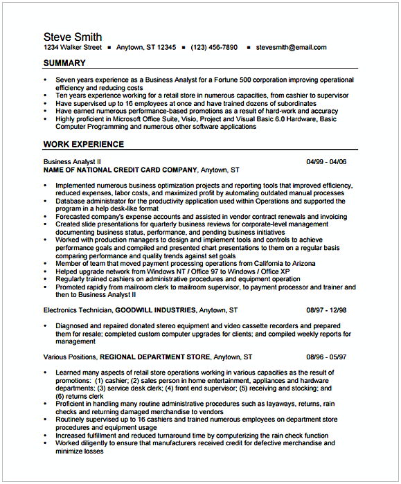 senior healthcare business analyst resume sample