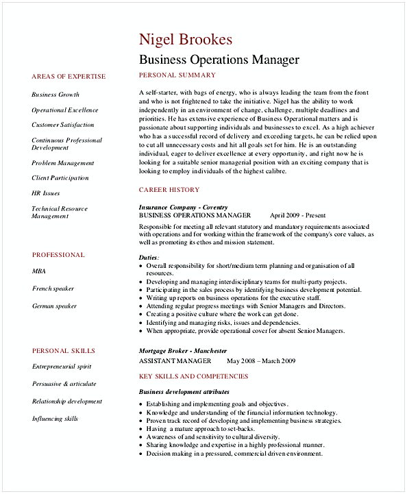 Resume for Manager Position