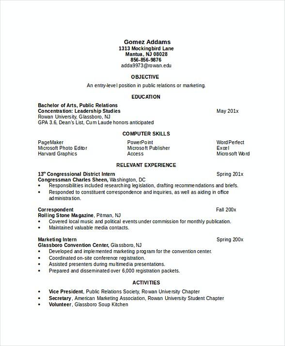 resume for engineering internship india