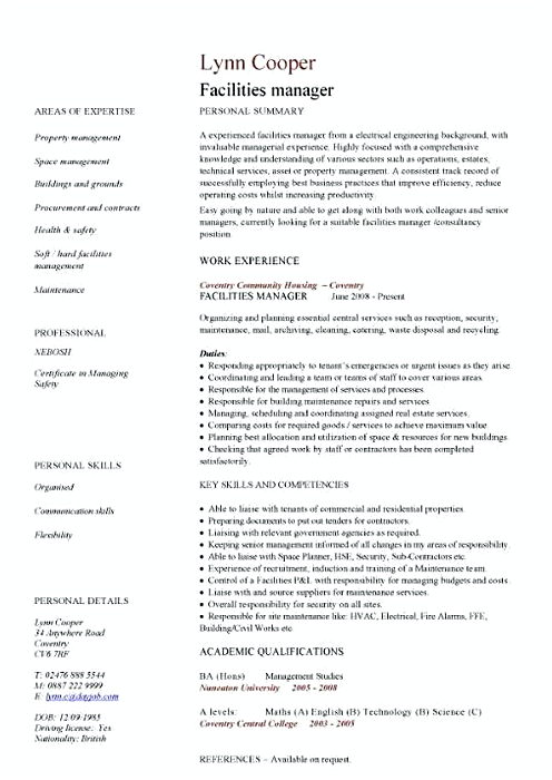 facilities assistant resume sample