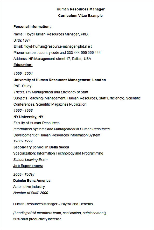 sample resume for manager human resources