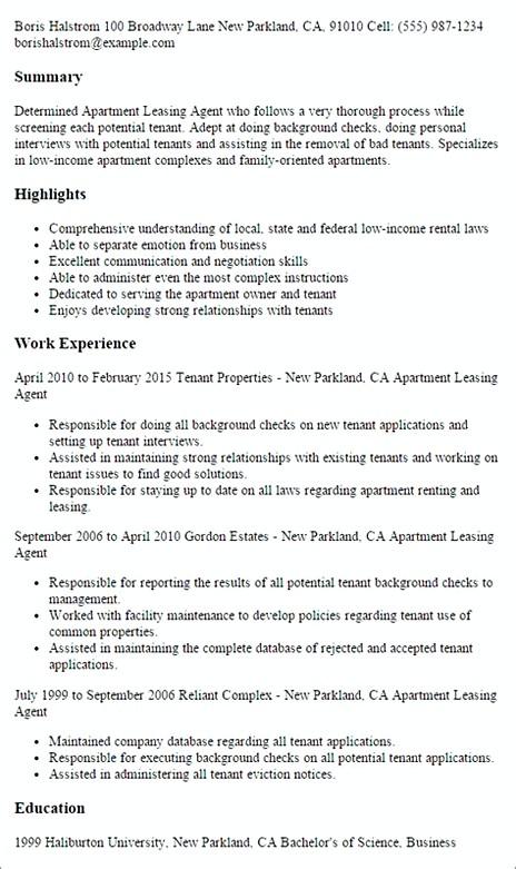 leasing agent resume samples - zrom