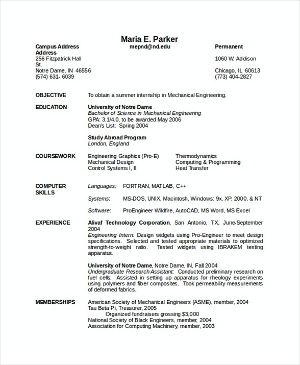 resume format for experienced mechanical engineer doc