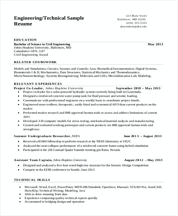 sample resume format for assistant professor in engineering college