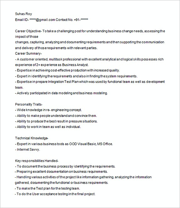 Sample Resume For Healthcare Business Analyst \u2013 resume
