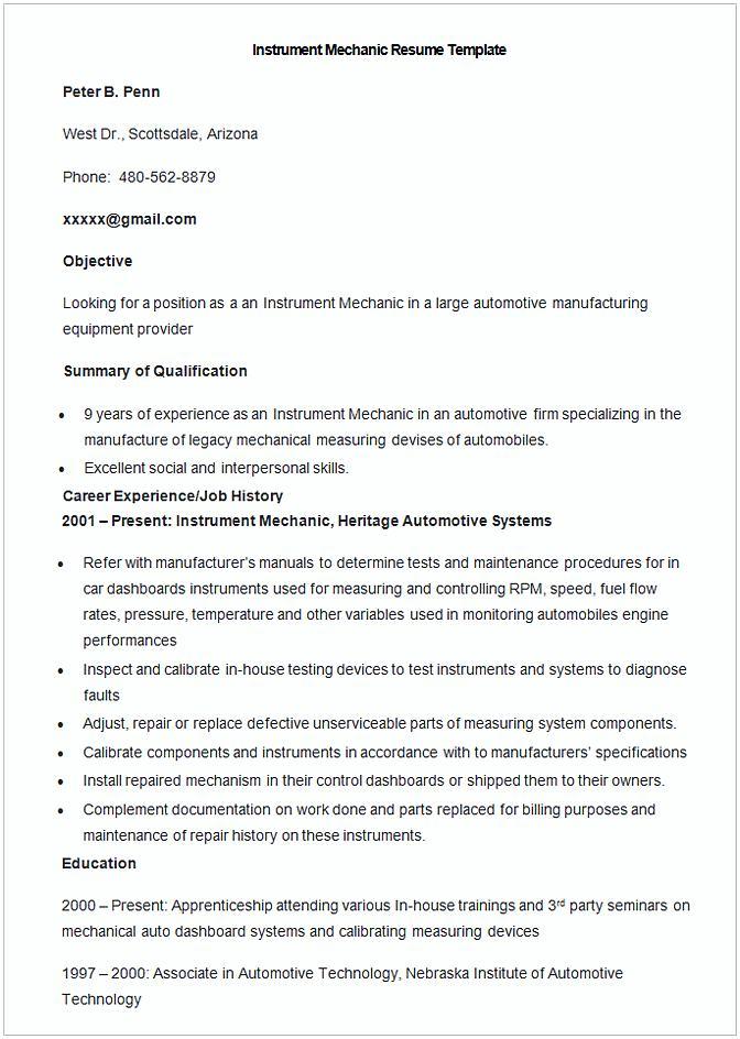 resume template plant mechanic