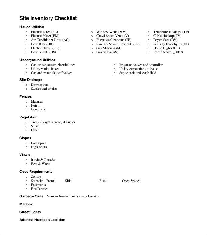 Inventory Checklist Templates