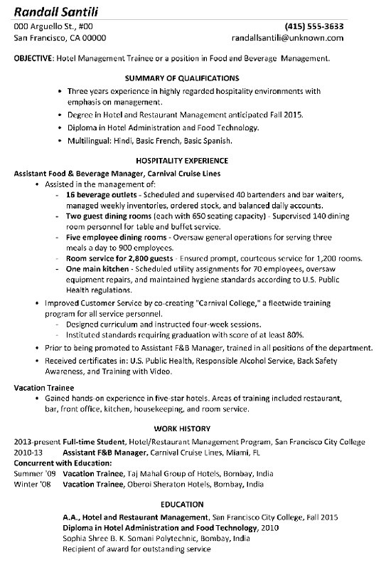 resume format for hotel management - zrom