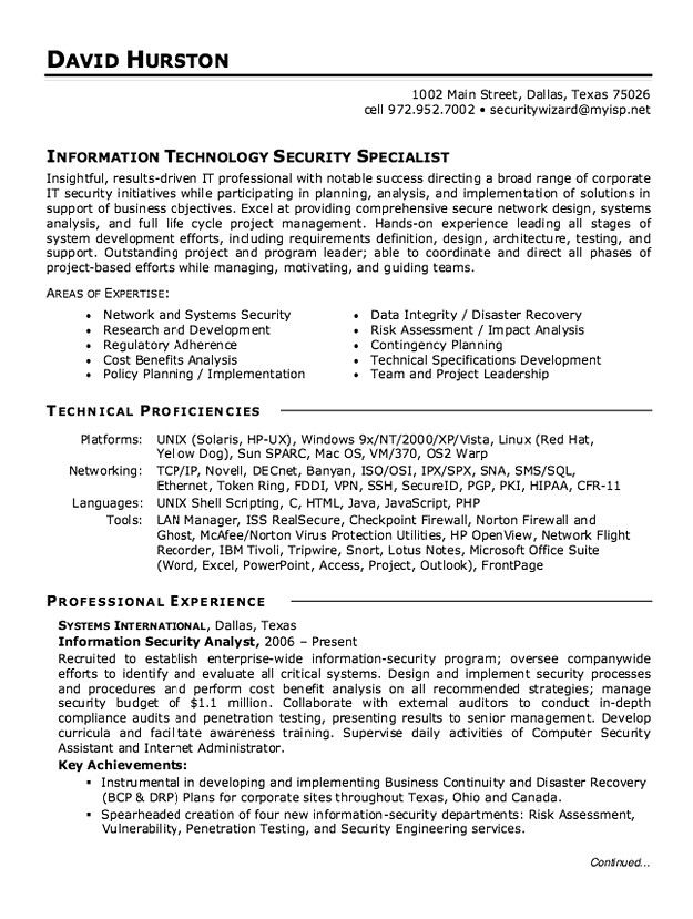 Information Security Analyst Resume - information security analyst resume