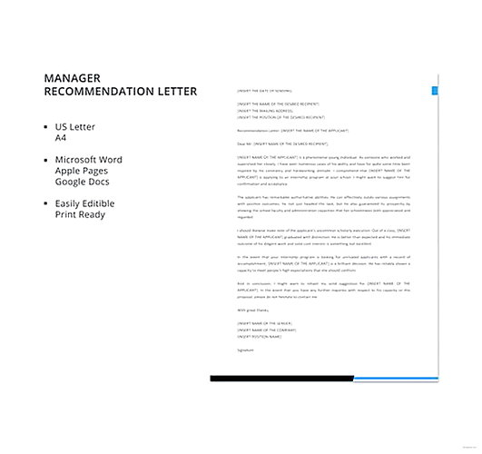Letter of Recommendation Template - manager reference letter