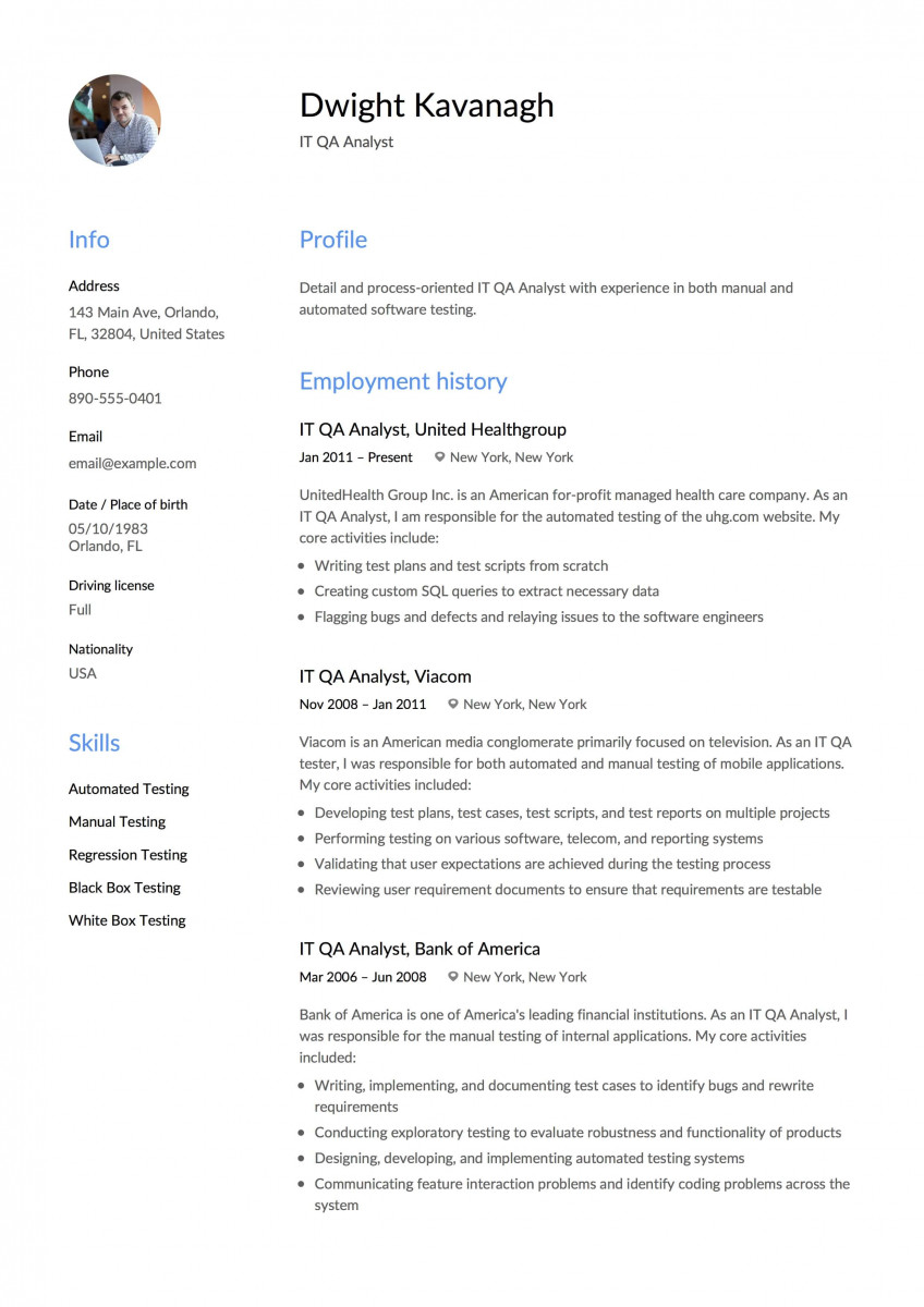 business analyst resume template 2019