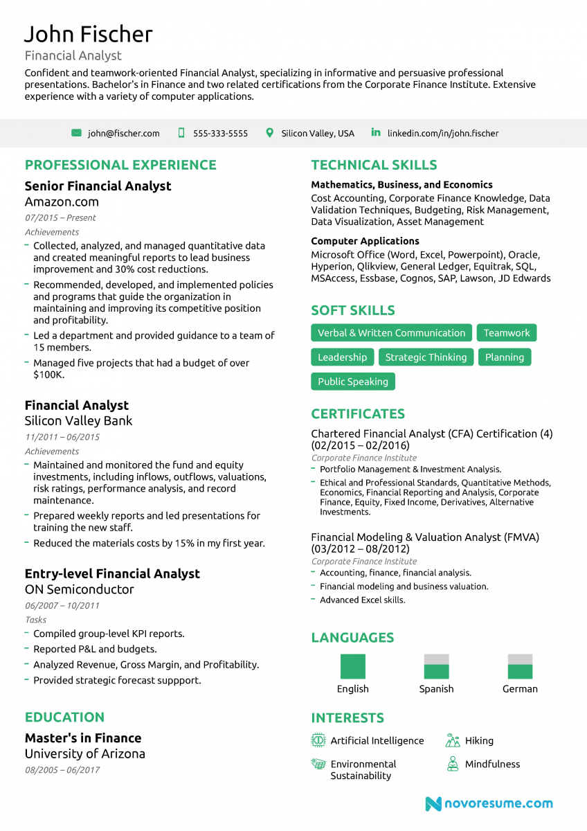 entry level financial analyst resume examples