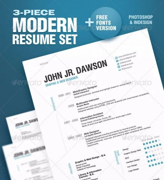 28 Minimal \ Creative Resume Templates - PSD, Word \ AI (Free - graphic design resume templates
