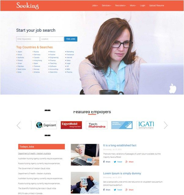 22+ Best Job Portal HTML5 Website Templates 2018 - Templatefor
